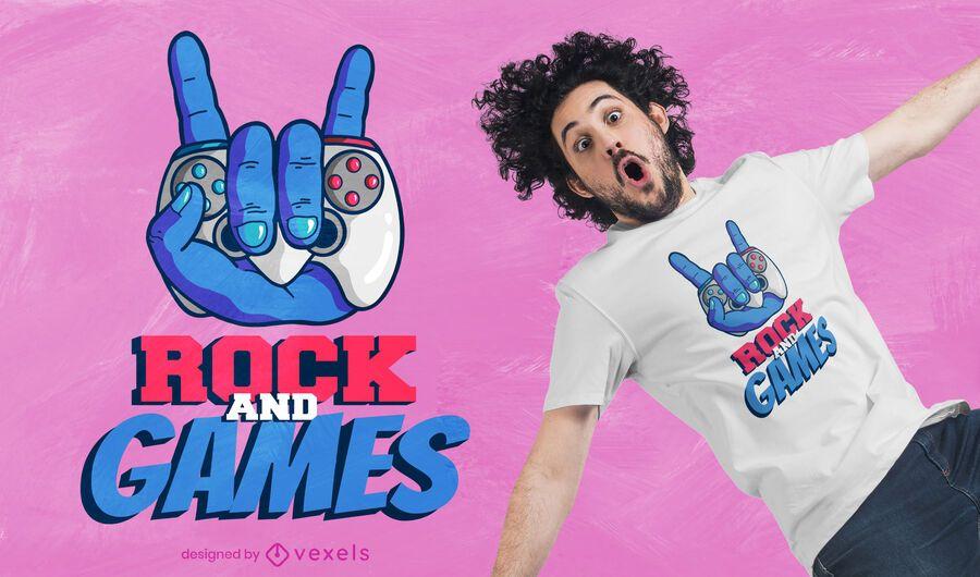 Diseño de camiseta de rock and games.