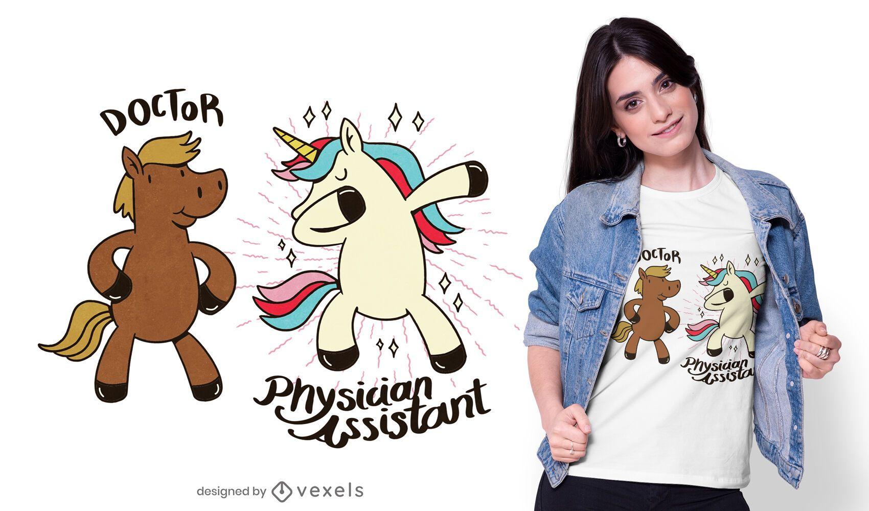 Diseño de camiseta de asistente médico.