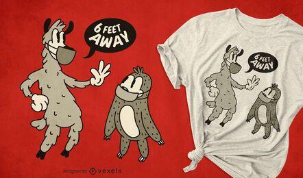 Design de camisetas de distanciamento social de animais retrô