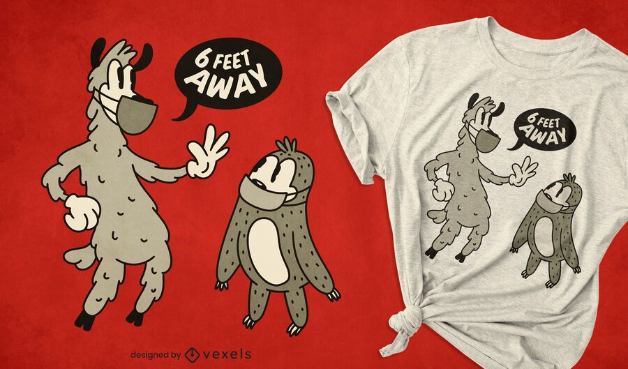 Diseño de camiseta de distanciamiento social de animales retro.