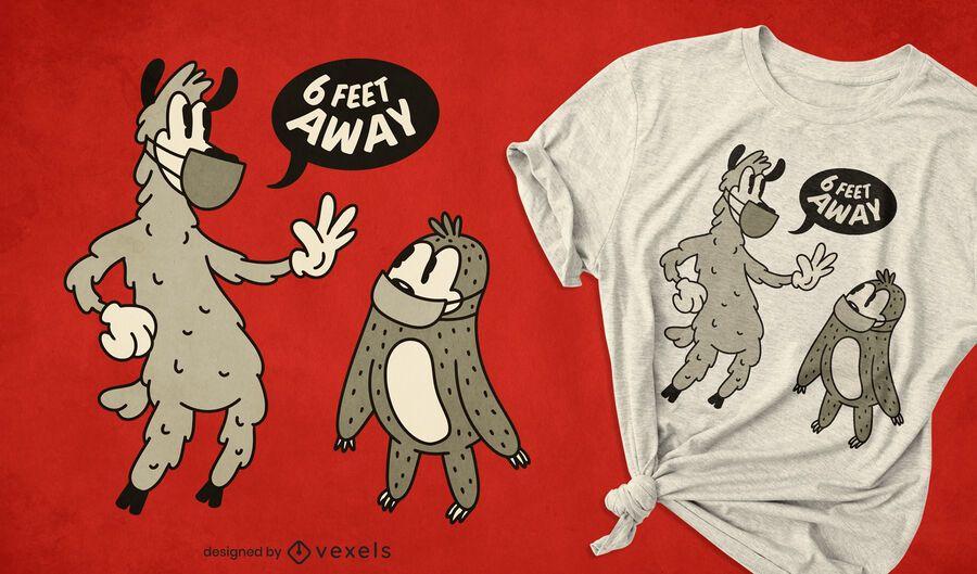 Retro animals social distancing t-shirt design