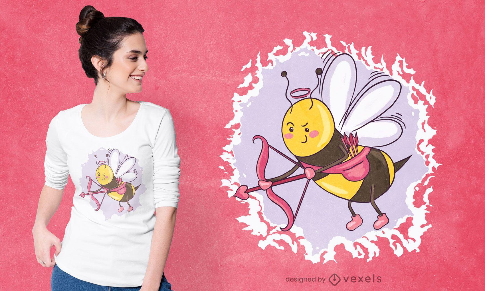 Diseño de camiseta de abeja Cupido