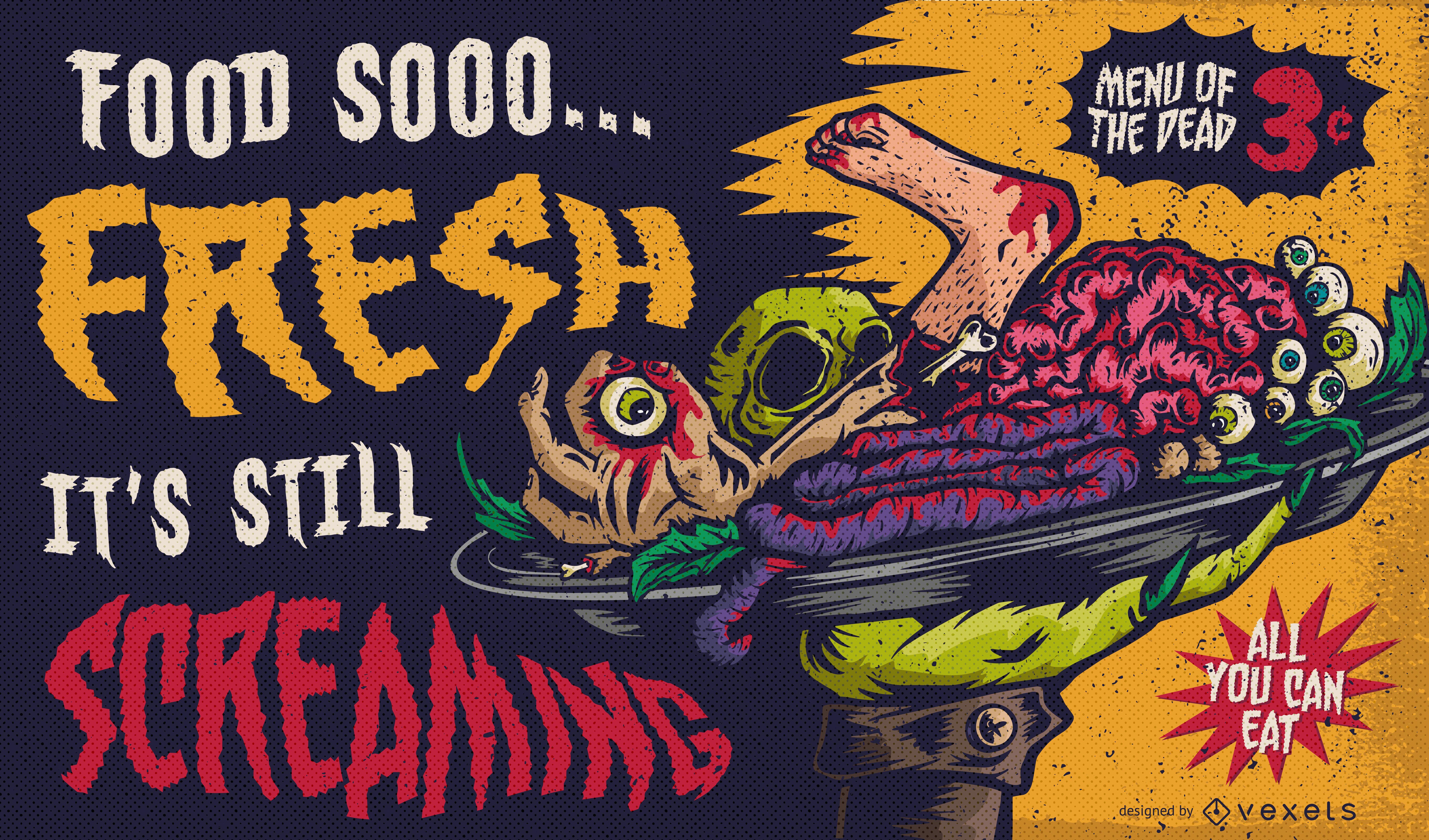 Ilustración de menú caníbal