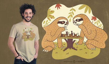 Design de camiseta xadrez de preguiça