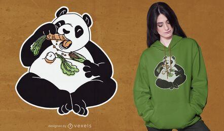 Diseño de camiseta de panda comiendo