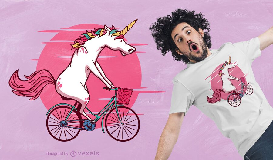 Design de camiseta de unicórnio de bicicleta