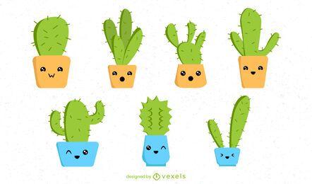 Conjunto de cactus kawaii