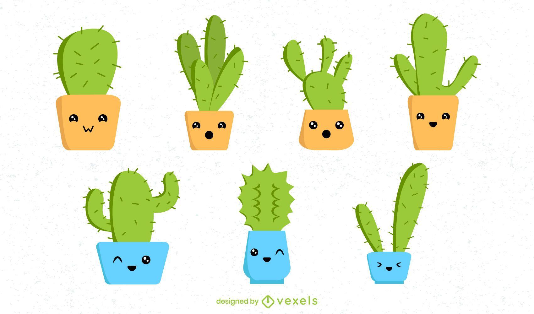 Kawaii cactus set