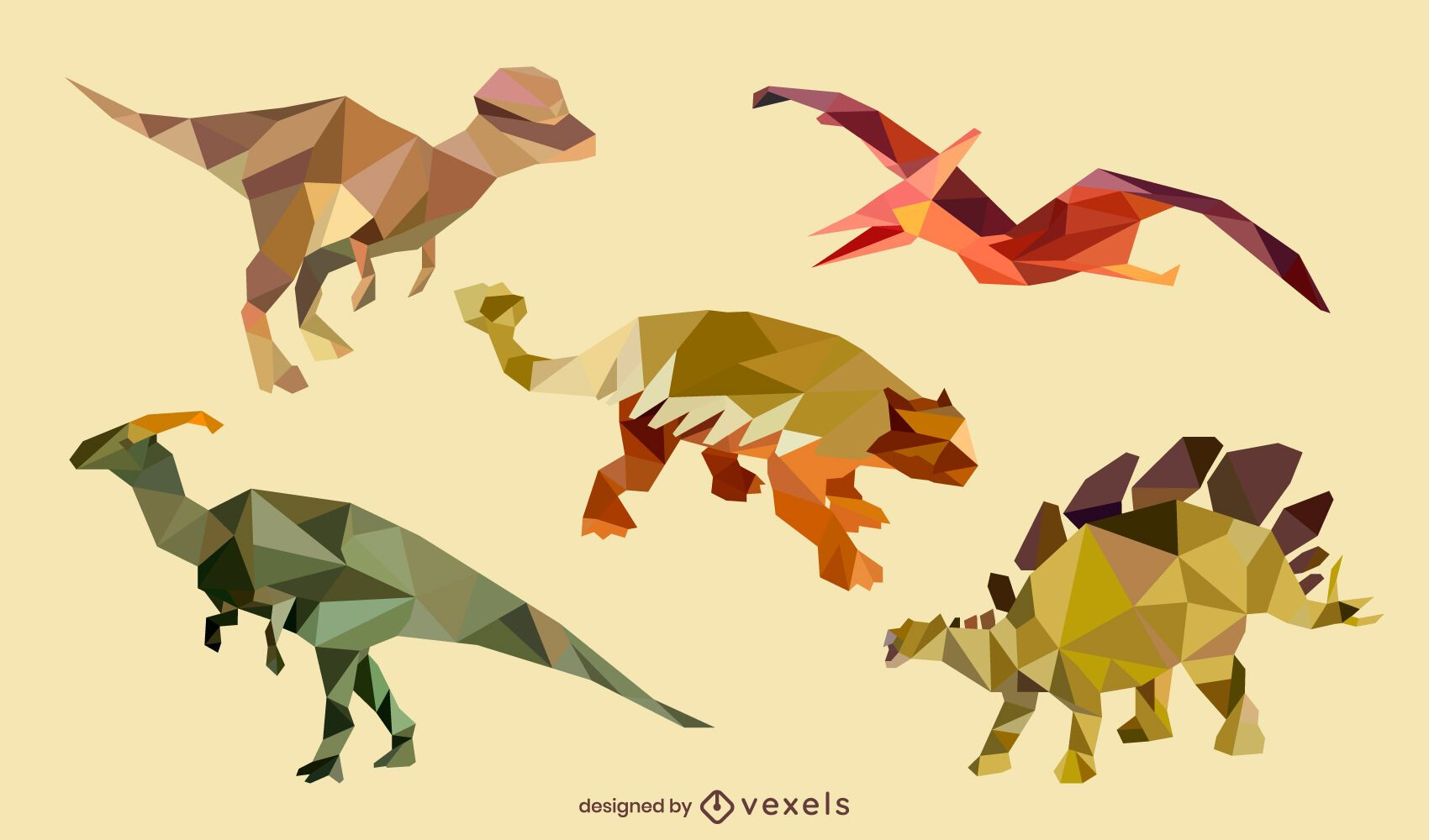 Dinosaur low poly set