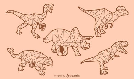 Dinosaur low poly stroke set