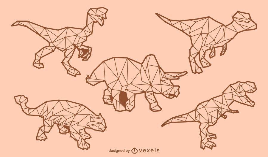 Dinosaur low poly stroke set