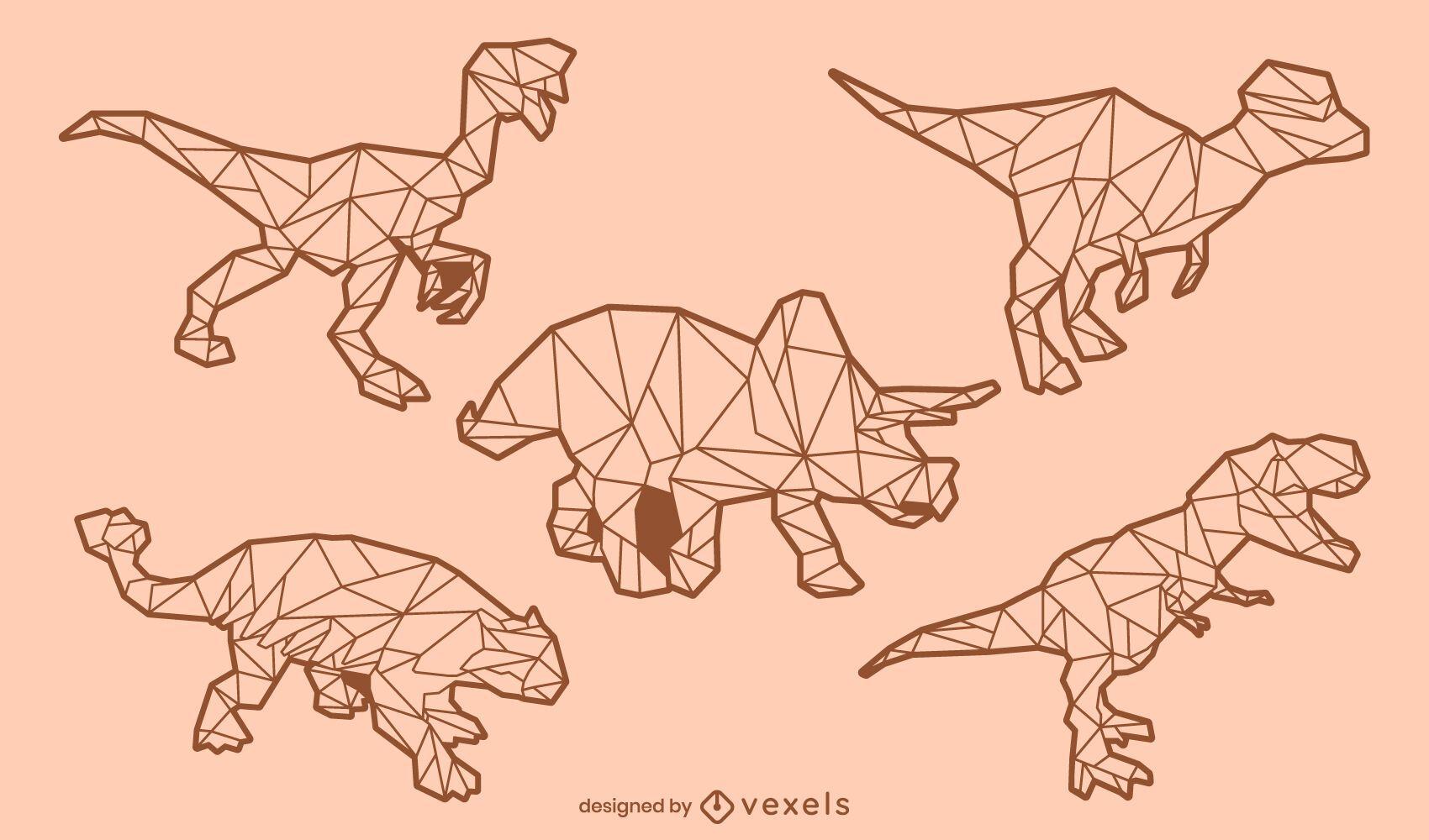 Conjunto de trazos de dinosaurio low poly