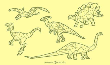 ?Dinosaur polygonal stroke set