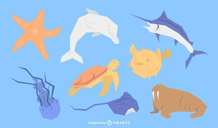 Sea animals flat set
