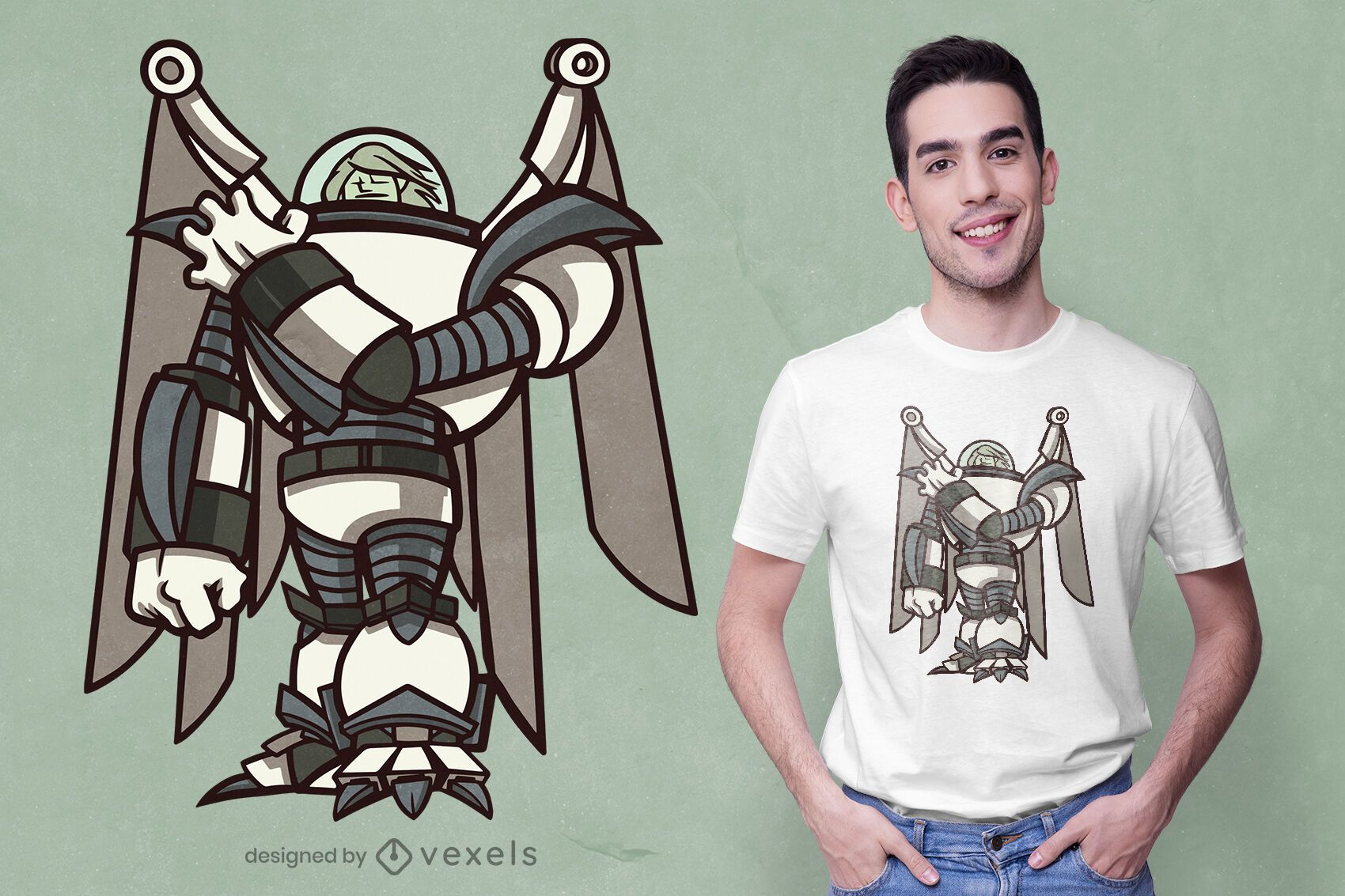 Diseño de camiseta de ángel tecnológico.