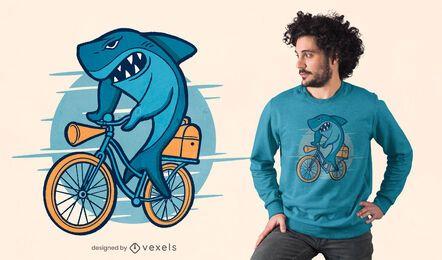 Diseño de camiseta de bicicleta de paseo de tiburón.