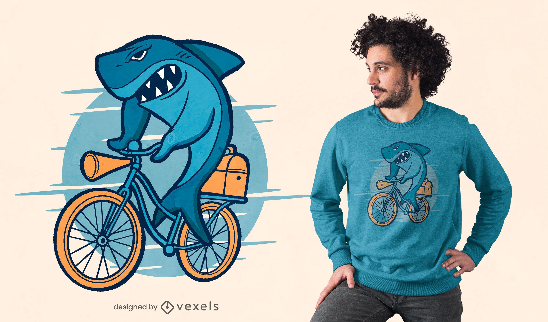 Shark ride bike t-shirt design