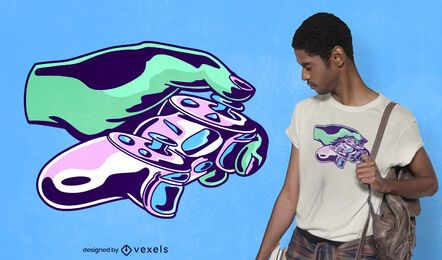 Mano con diseño de camiseta de joystick