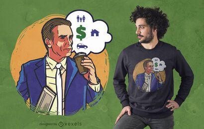 Diseño de camiseta de gastos de dinero.