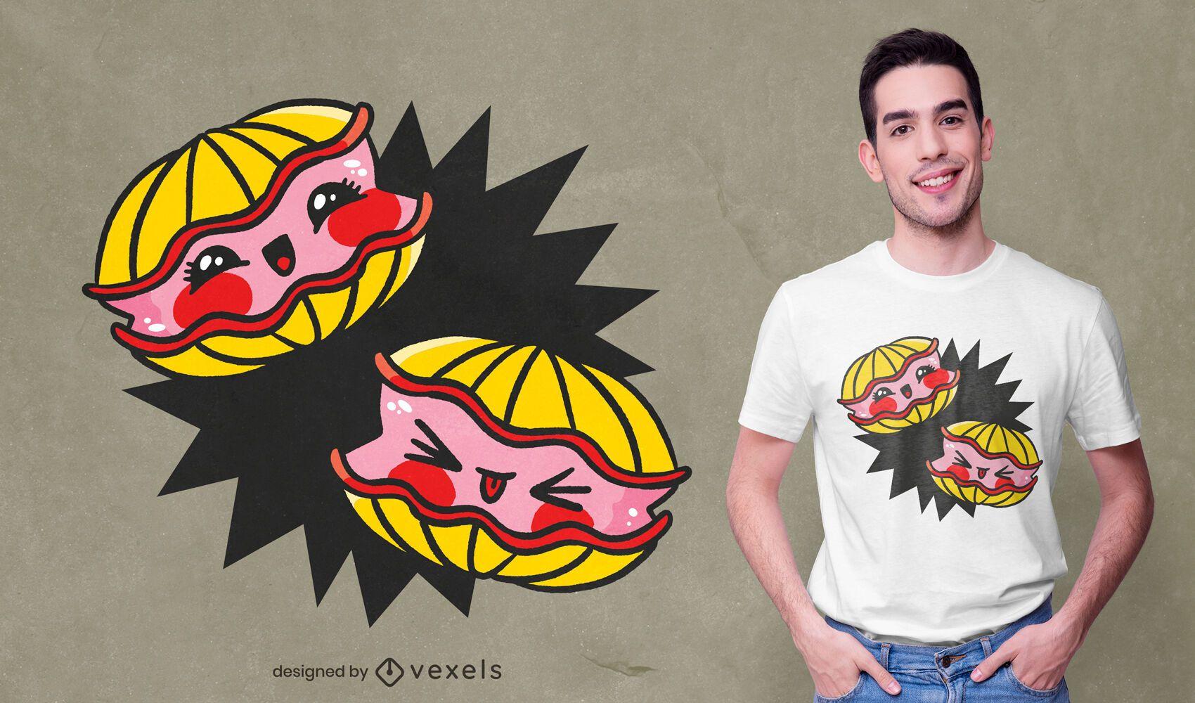 Diseño de camiseta de ostras kawaii