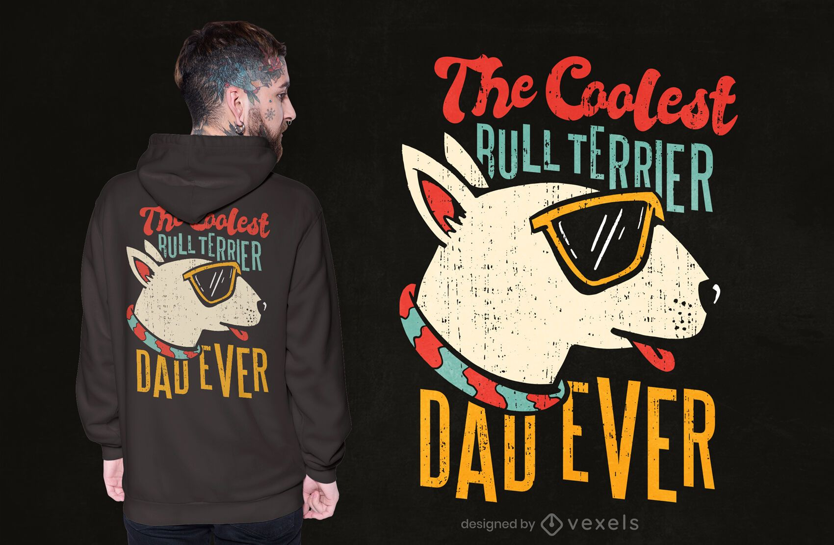 Diseño de camiseta de papá bull terrier