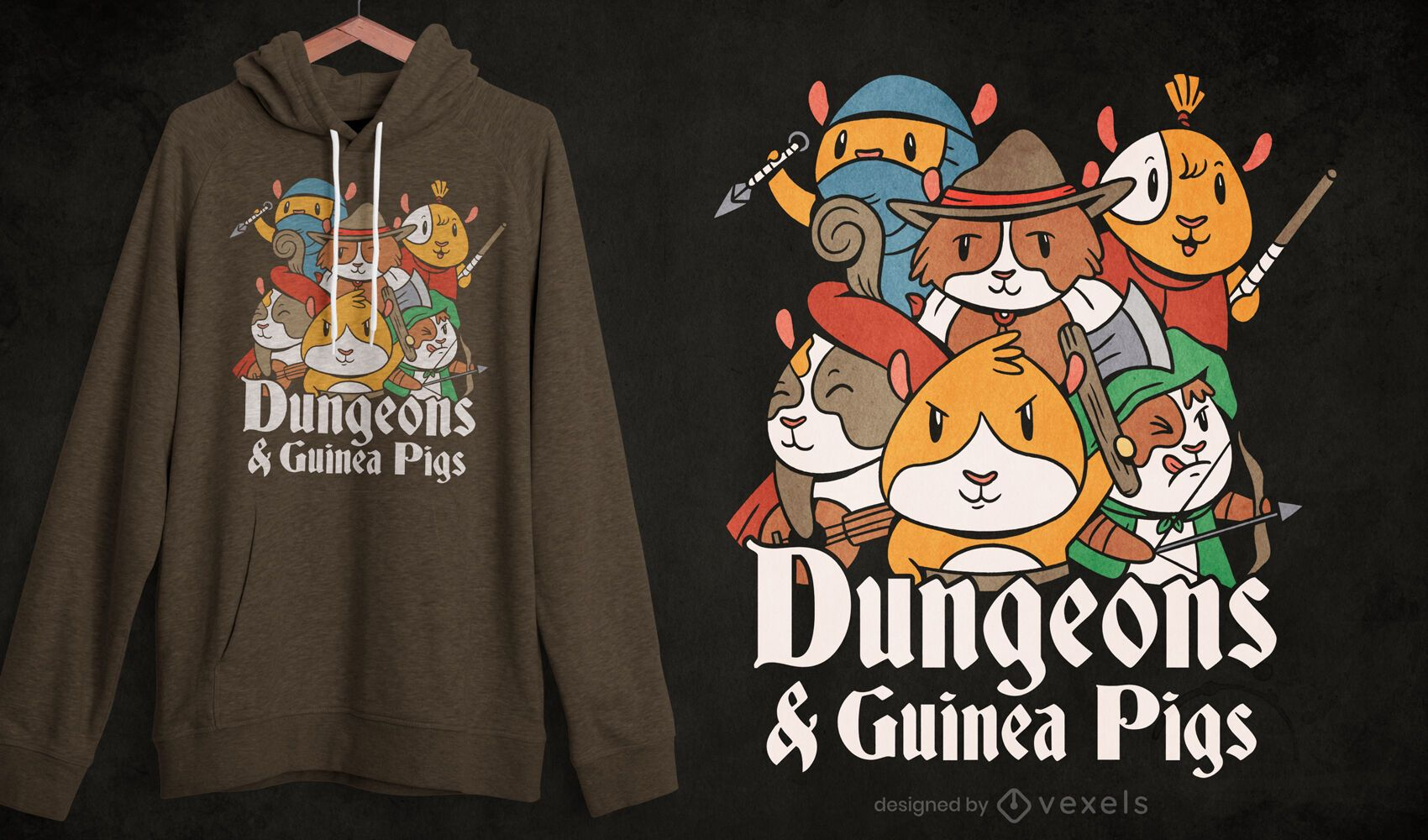 Dungeon guinea pigs t-shirt design