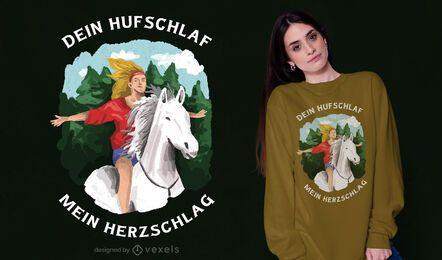 Desenho de t-shirt de menina a cavalo