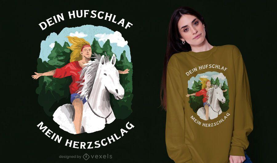 Diseño de camiseta de niña a caballo
