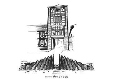 Torre de ferro da Alemanha desenhada à mão