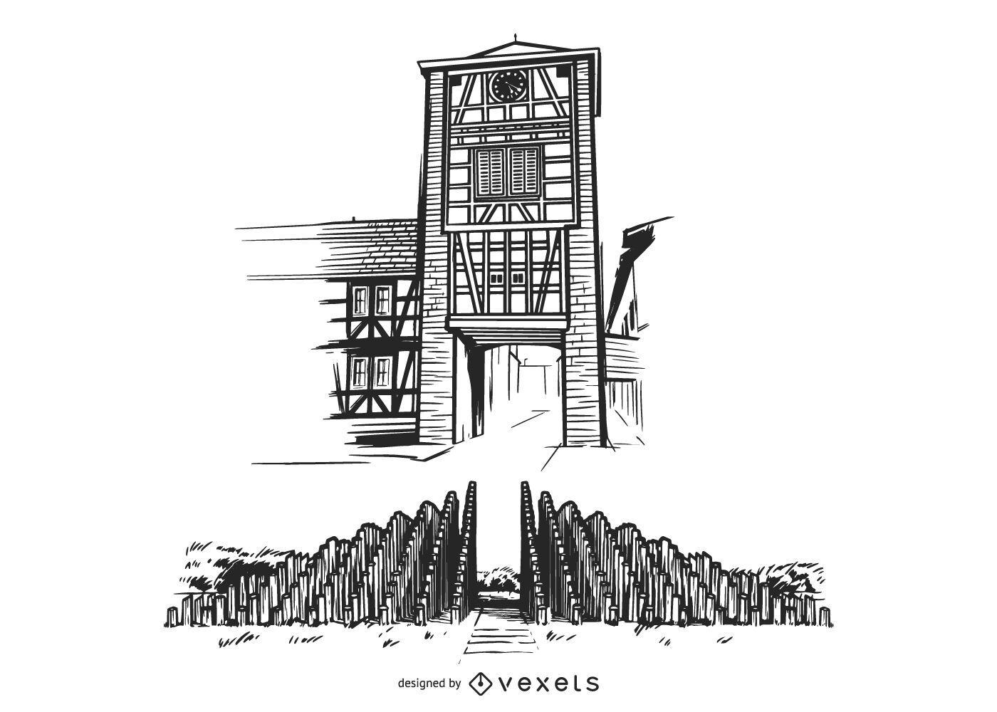 Torre de ferro da Alemanha desenhada ? m?o