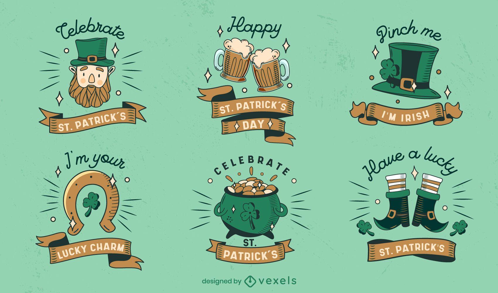St Patricks cute badge set