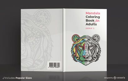 Diseño de portada de libro para colorear mandala adulto