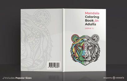 Diseño de portada de libro para colorear mandala para adultos