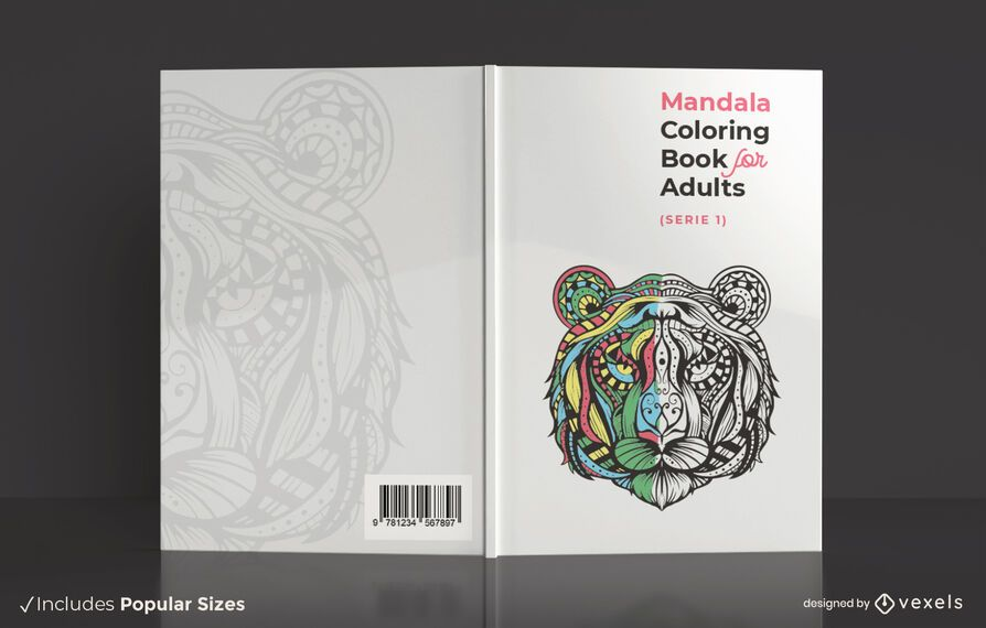 Design de capa de livro para colorir mandala adulta