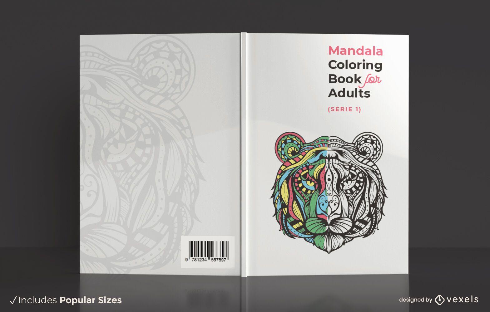 Design de capa de livro para colorir de mandala adulta