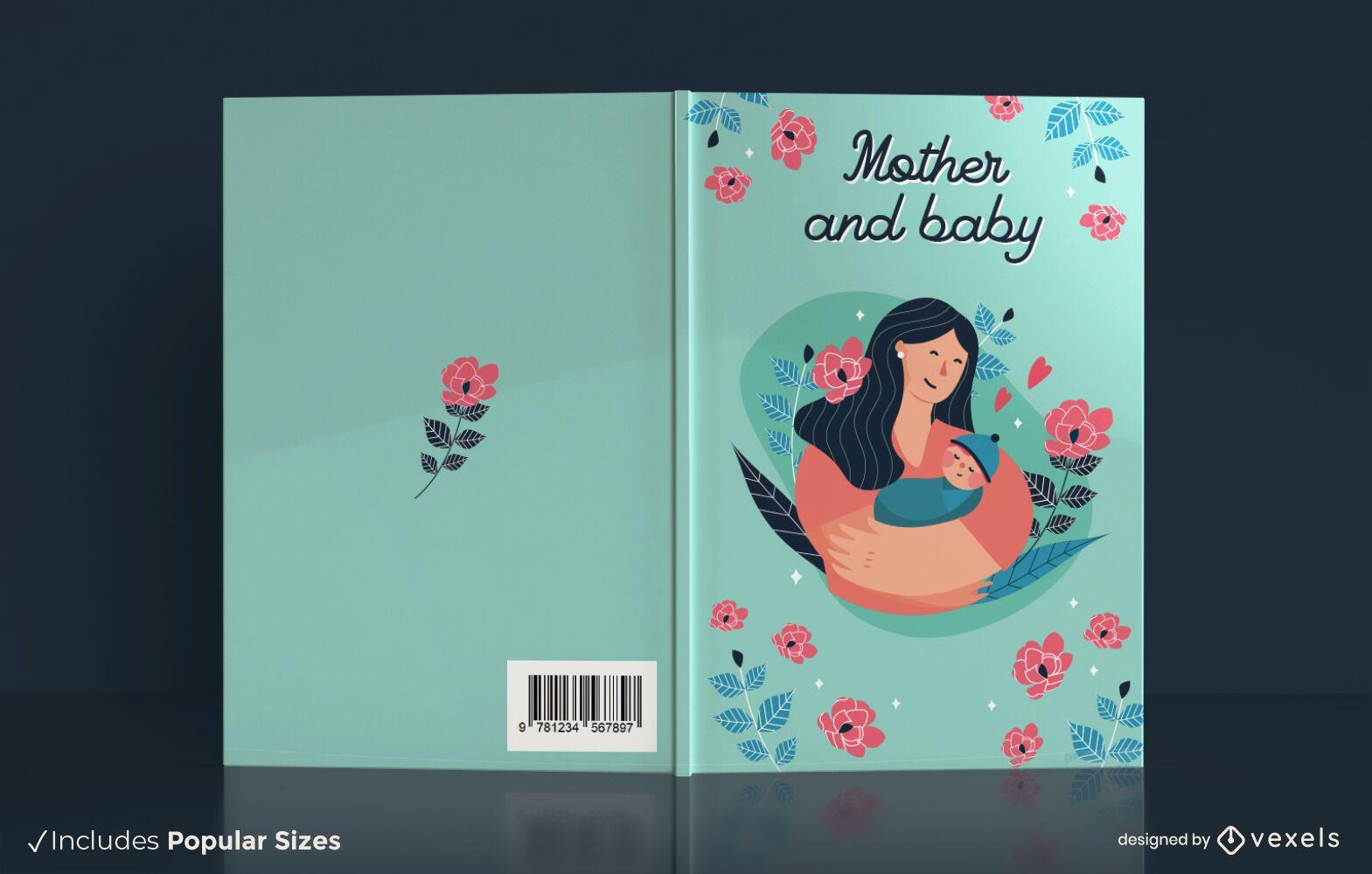 Diseño de portada de libro de madre y bebé.