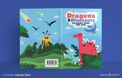 Design de capa de livro de dragões e dinossauros