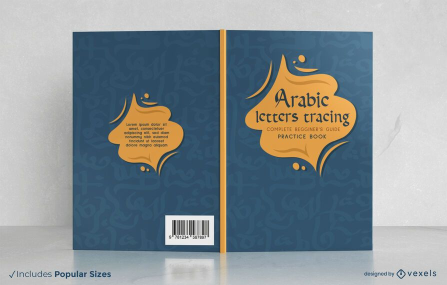 Arabic letters tracing book cover design
