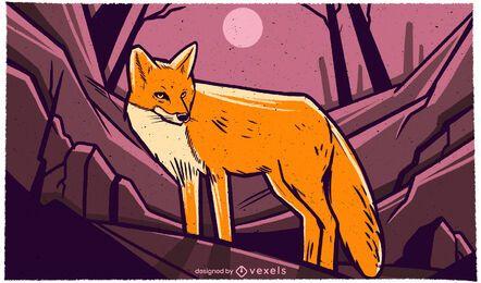 Fox en la ilustración de la noche