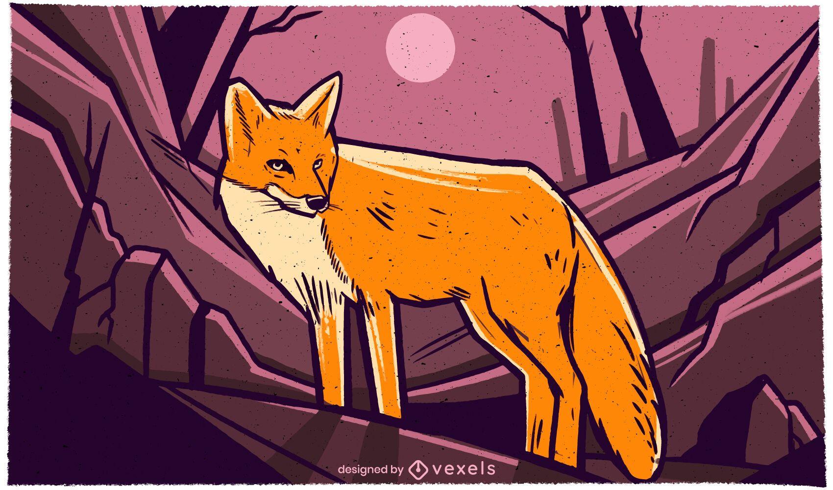 Fox in the night illustration