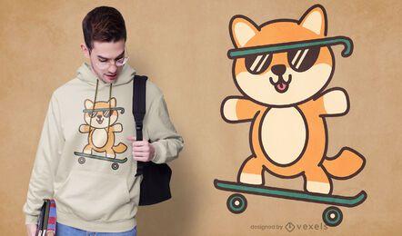 Design fofo de camiseta para cachorro patinador