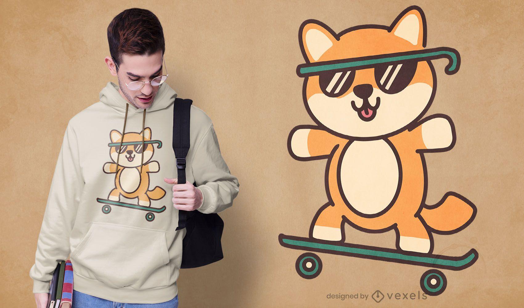 Diseño de camiseta de perro patinador lindo
