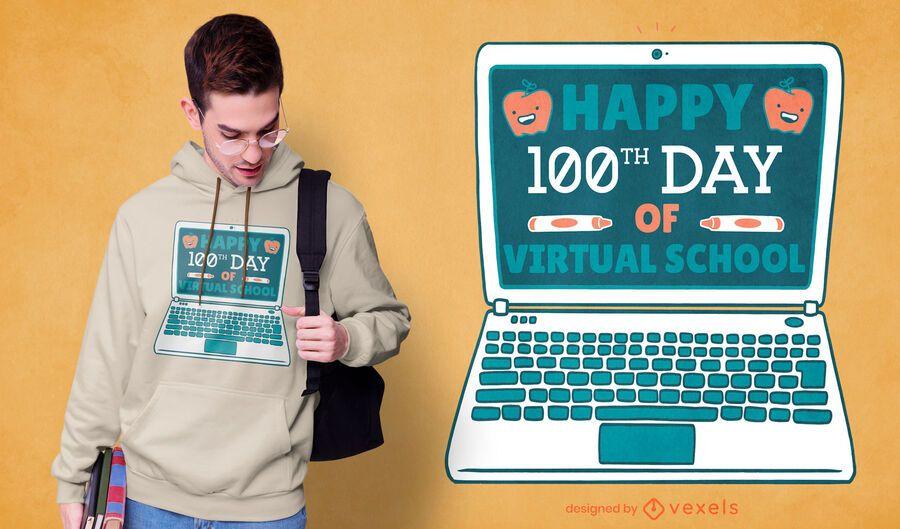 Design de camiseta escolar virtual do 100º dia