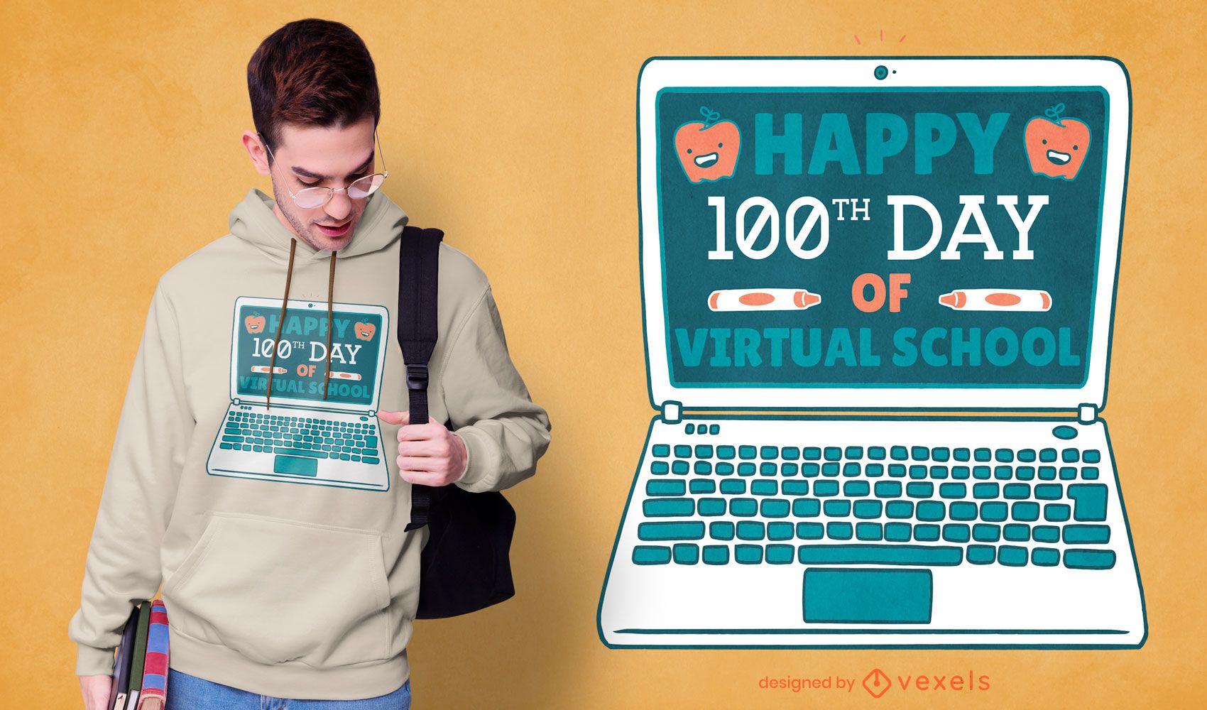 Diseño de camiseta de escuela virtual del día 100