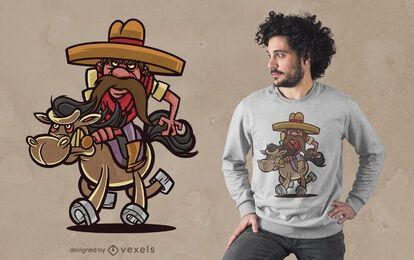 Diseño de camiseta de dibujos animados de vaquero mexicano
