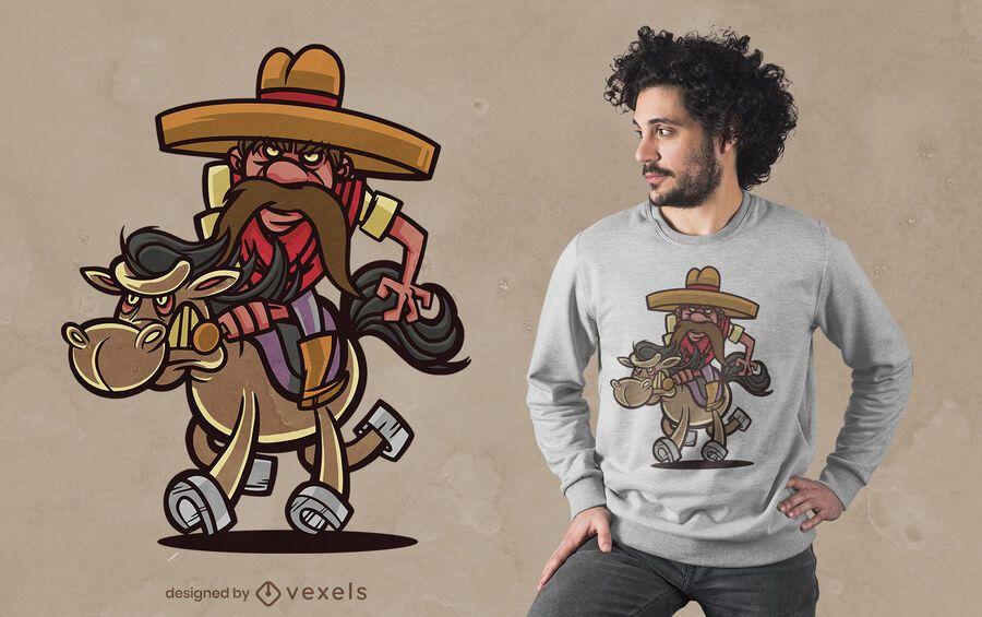 Mexican cowboy cartoon t-shirt design