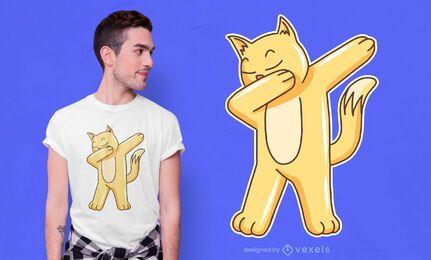 Diseño de camiseta de gato dabbing