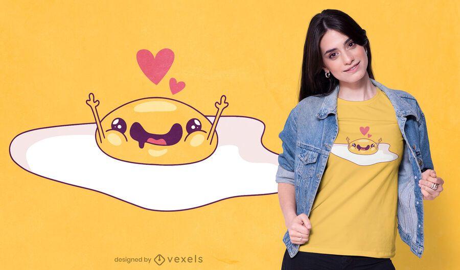 Diseño de camiseta de huevo frito lindo