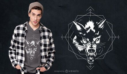 Black and white wolf t-shirt design