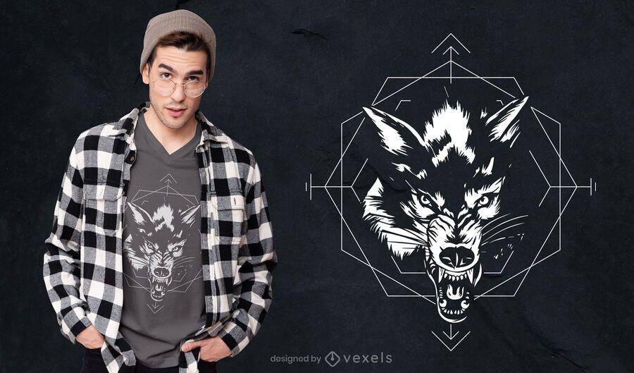 Diseño de camiseta de lobo blanco y negro.